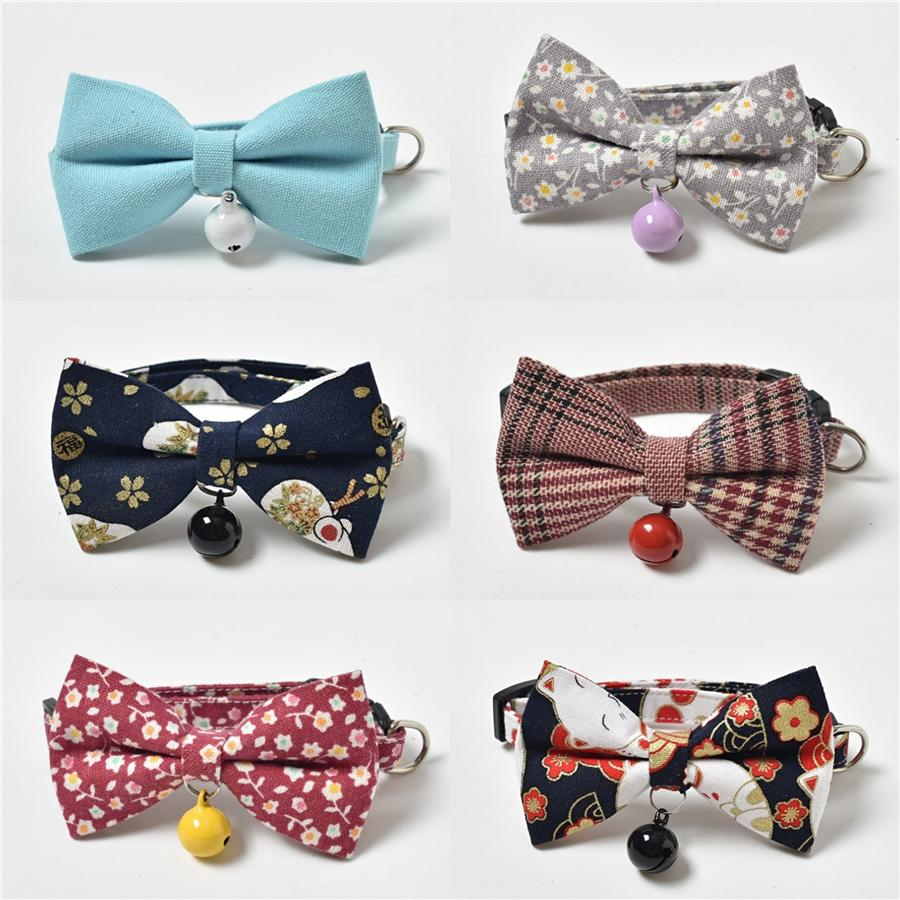 Polka Dot Coton Bowtie chien bowknot collier Noeud papillon pour fille ou garçon personnel personnalisé pour animaux Cadeaux Y200515 # 472
