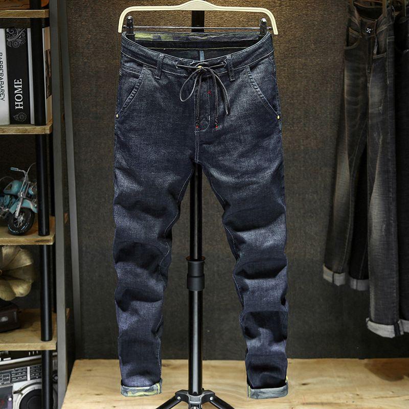 Black Jeans hombres adelgazan color sólido ocasional por completo recto Duración dril de algodón lavado de alta calidad de vaquero Las cuatro estaciones Harem masculino