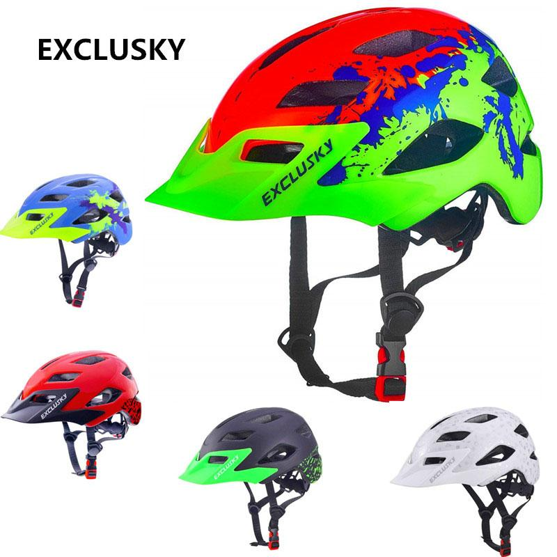 Tamaño EXCLUSKY niños casco de la bici de los niños de 50 ~ 57 cm Ajuste para el 5 ~ 13 años Red de MTB bicicleta del casco de protección de seguridad Deporte Cap D