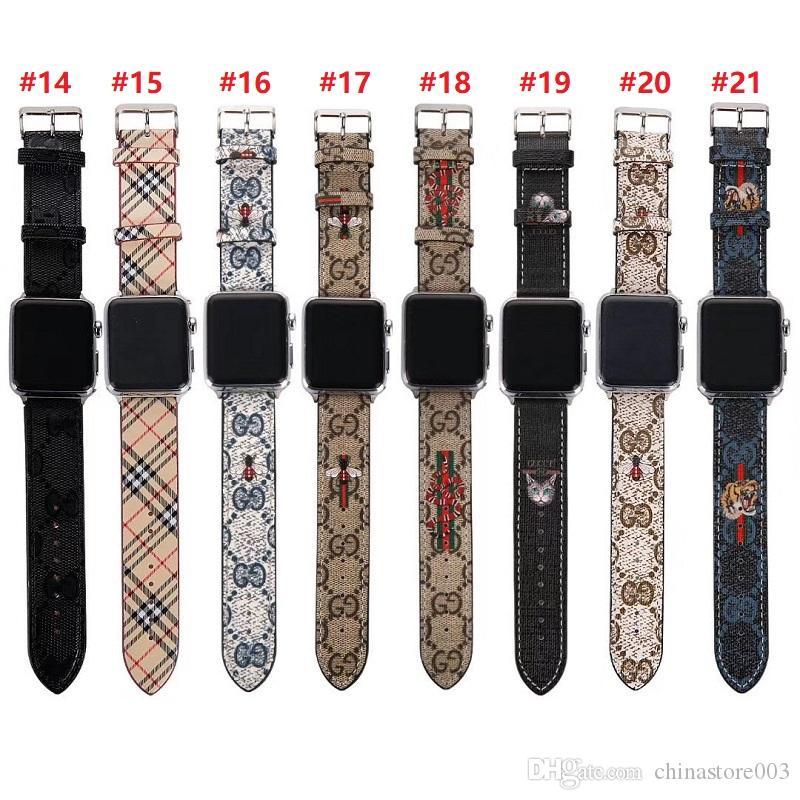 مصمم أزياء لشركة آبل الذكية ووتش العصابات جلد 42MM 38MM 40MM 44mm ورخيصة حزام قابل للتعديل لiWatch 5 4 3 2 الأشرطة استبدال