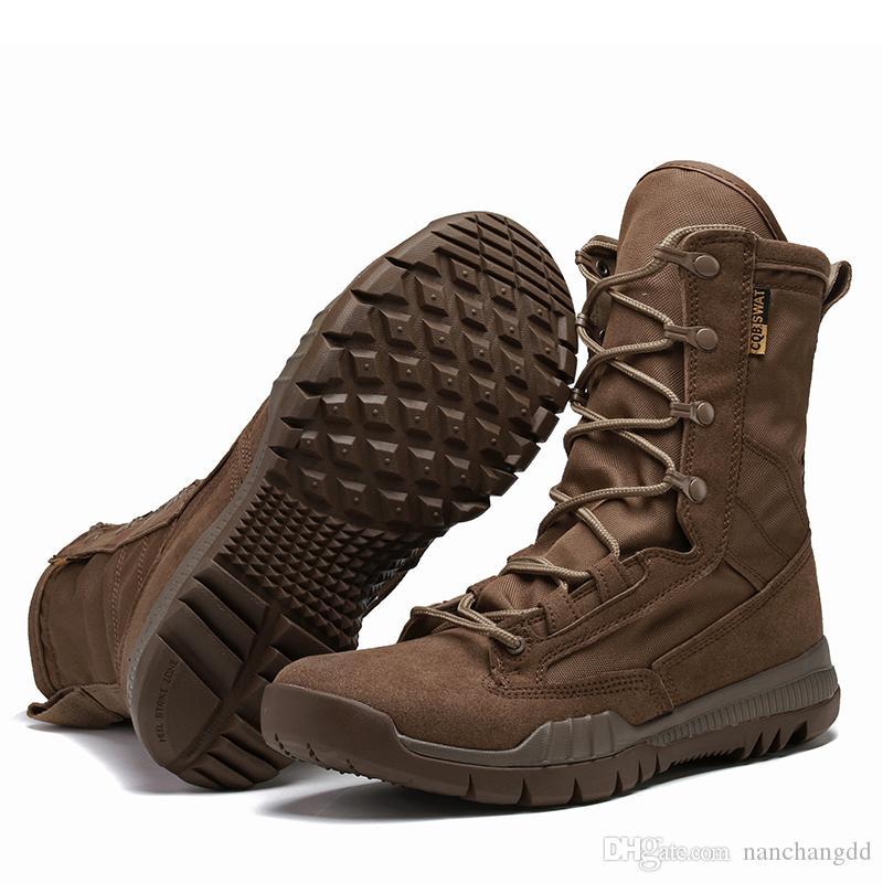 Весна / Осень Мужчины Военный Ботинок Черный Дышащий Холст Ультра Легкая Пустыня Обувь Мужские Боевые Лодыжки Тактические Армейские Ботинки
