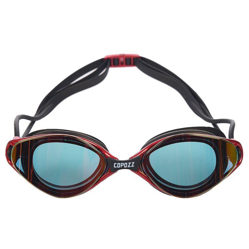 Copozz طلاء المتطابقة سباحة نظارات للماء للبالغين الرياضة المضادة للأشعة فوق البنفسجية الضباب حماية نظارات السباحة (الأحمر)