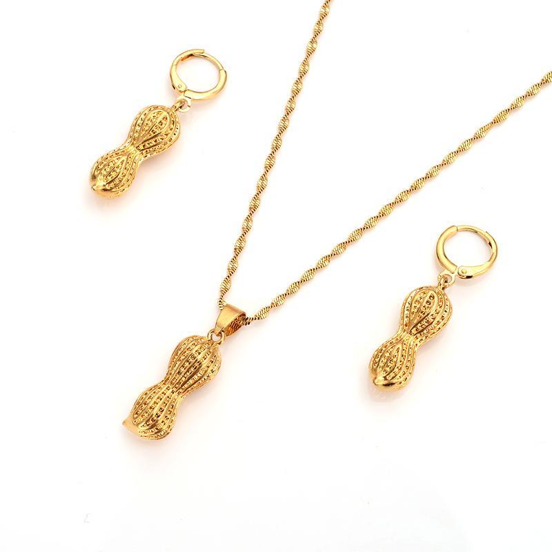 18 k Fest Fine Gold GF Dubai Indien Erdnuss Vintage Ohrringe Halskette Schmuck Sets Frauen-Mädchen-Partei Schmuck