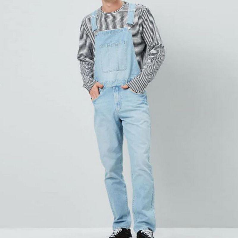 Pockets Jeans Suspender Trousers Fashion Denim Overalls Men Slim One Piece Jeans Pants Casual Straight Button Strap Pant
