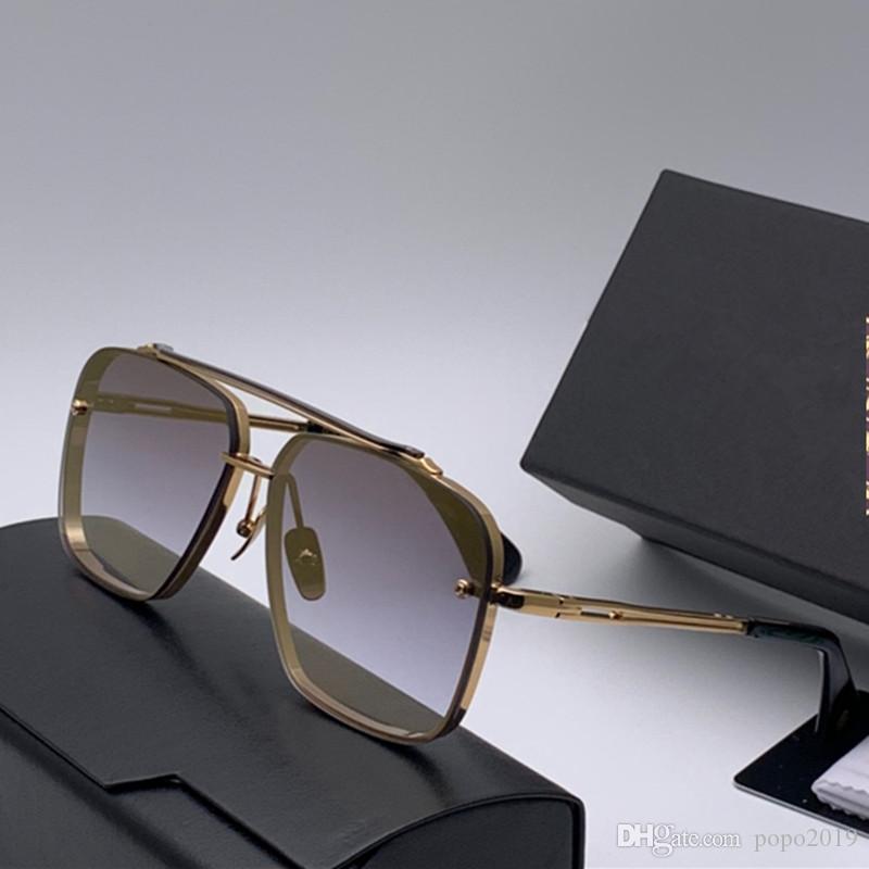 مصمم النظارات الشمسية للرجال النظارات الشمسية الفاخرة النظارات الشمسية الرجال معدن تصميم خمر الأزياء نمط الإطار مربع UV 400 مع عدسة حالة MACH SIX
