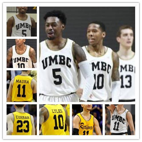 NCAA College Basketball 10 Jairus Lyles 11 KJ Maura 5 Jack Schwietz 23 Max Curran Gelb Weiß Nähed Jersey S-4XL