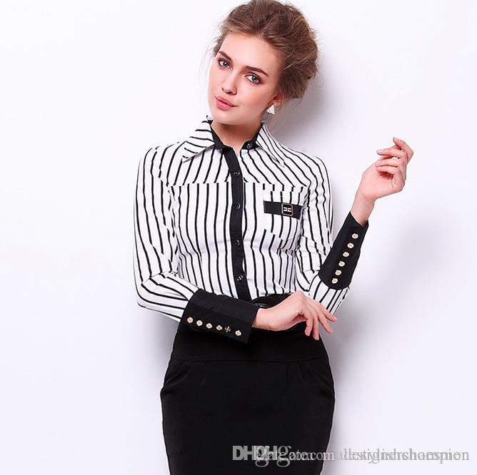 Роскошные женские платья рубашка Мода Полосатый Printed Тонкий рубашки конструктора женщин полиэстер Tops