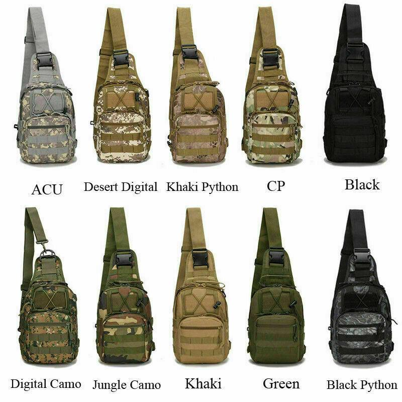 Molle Sling Chest Bag Military Tactical Canvas Messenger Crossbody Shoulder Backpack Camouflage Outdoor Sport Cycling Bags Satchel Day Packs