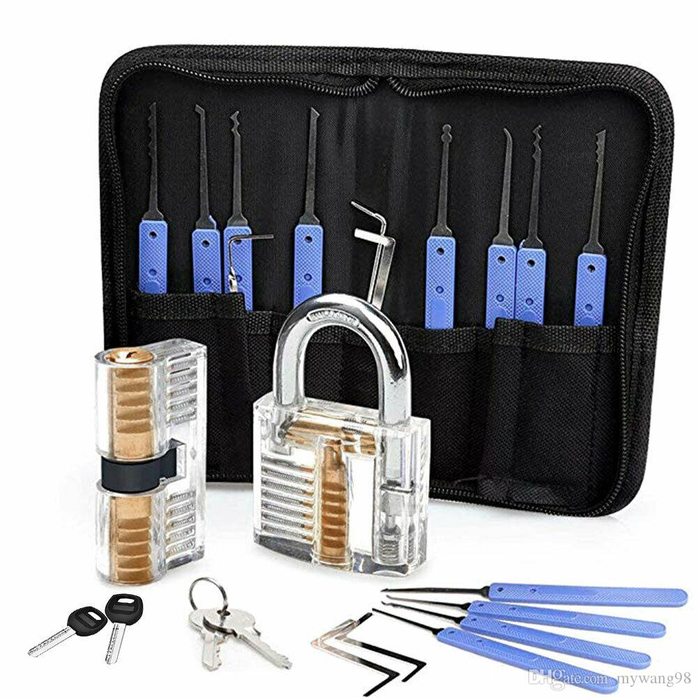 2020 New 23pc Stainless Steel Multitool Lock Set Unlocking Locksmith Practice Lock Set Key Extractor 2*professional Padlock Tool Kits