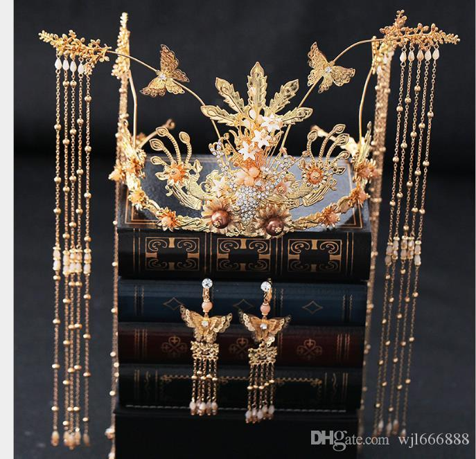 Dafeng Crown Headwear Chinese tassels, golden bottom red hair crowns, wedding antique headwear accessories