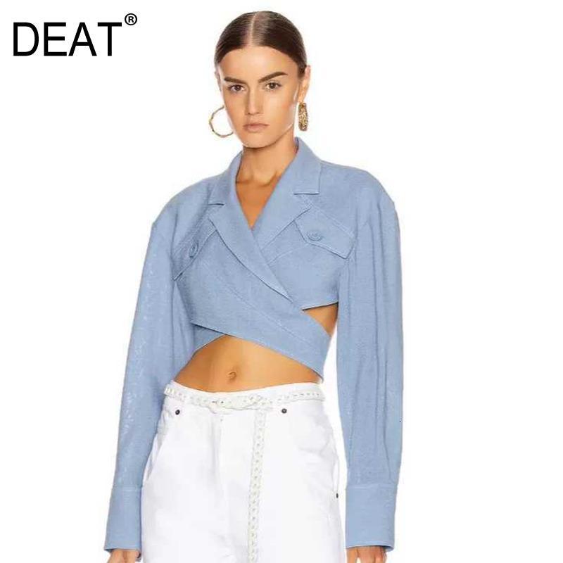 Drapeaux 2019 Nouvelle mode d'automne et d'hiver Femmes Vêtements Vêtements Trend Crossing Hollow Out Shirt Sexy Crop Crop chemisier Denim Bleu WJ87105L