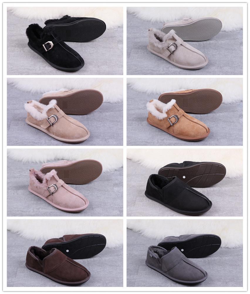 2019 with box Australia Winter Indoor Slippers U 100% Genuine Leather men women Warm Home Shoes luxury slides G designer shoes fashion700c#
