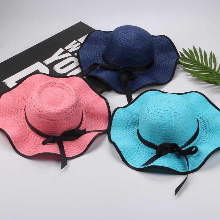 BOWKNOT شاطئ سترو أحد القبعات الصيف المرأة واسعة حافة شاطئ القبعات المرنة طوي قبعات السفر في عطلة عارضة سترو CapsTTA874