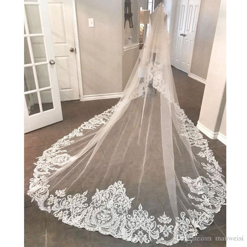 Elegante 2019 neue Brautschleier 3 Meter lange Kathedrale Länge Spitze appliziert Real Image Tüll Brautschleier mit Kamm
