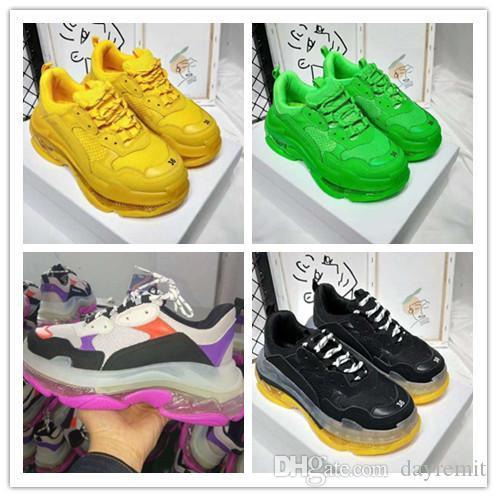 2019 새로운 캐주얼 아빠 신발 남성 여성 디자이너 신발 크리스탈 신발 패션 파리 17FW 트리플 S 운동화 베이지 화이트 블랙 핑크 트리플 S