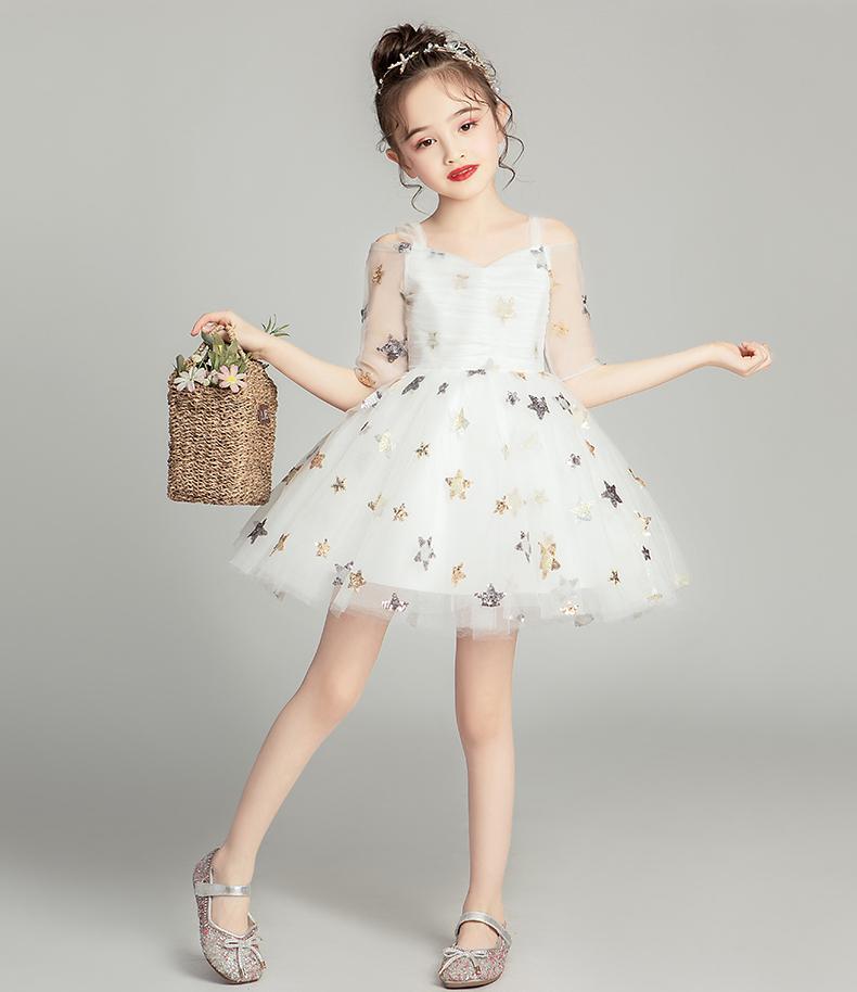 Mooie ivoor grijze champagne korte bloem meisje jurken meisjes 'pageant jurken vakantie / verjaardag jurk / rok aangepast maat 2-14 DF710327