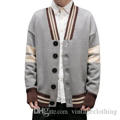 Men Autumn Winter Sweater Cardigan New Striped V Neck Homme Outerwear Clothing Plus Size Male Coats