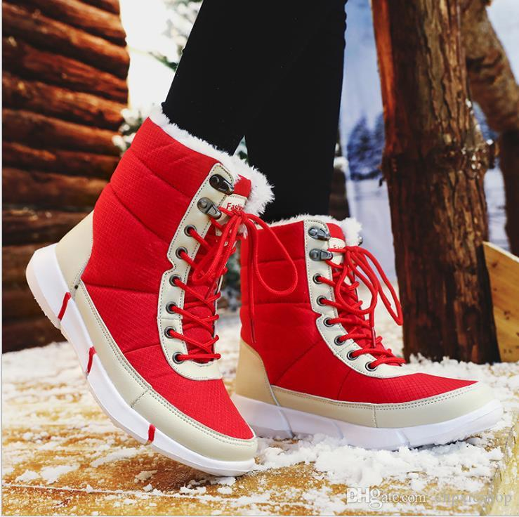 Mode Paar Cotton Schuhe Pure-Farbe Freizeit Mid-Kanister-Baumwollschuh mit Flanell-Schnee-Stiefel im Winter Rundkopf