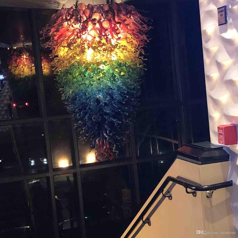 2020 Beleuchtung Feuer-Blumen-Kronleuchter 100% Hand geblasenem Glas Kronleuchter Beleuchtung Regenbogen farbige LED Luxus Kronleuchter