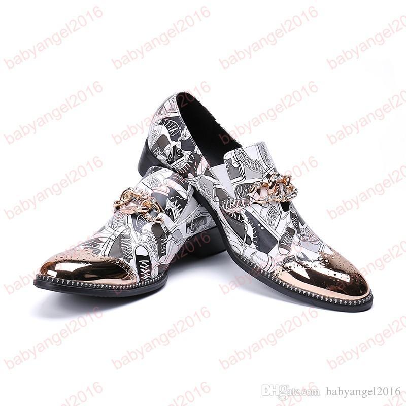 Zapatos de los hombres Fiesta de la moda Prom Men Mocasines cómodos Parte inferior de cuero Zapatos casuales Fumar zapatillas Zapato paty plana masculina
