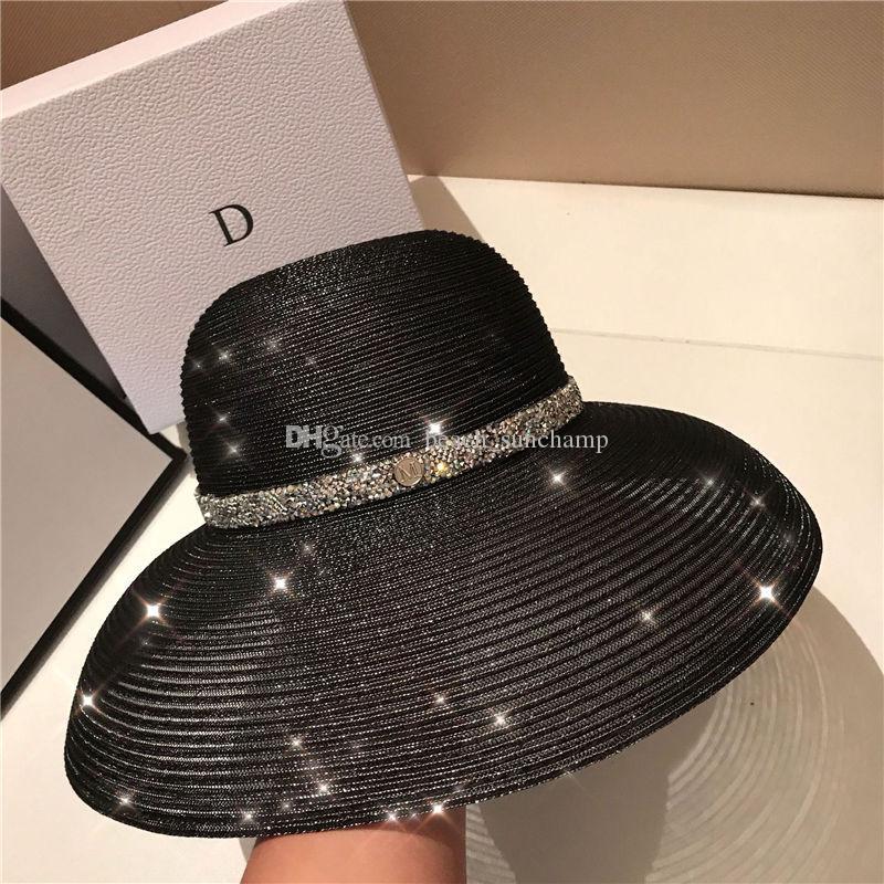 Alta calidad elegantes anti-uv sombreros para mujer sombreros de ala ancha de vacaciones sombrero de playa de alta calidad sombrero de sol marea negro pescador sombreros