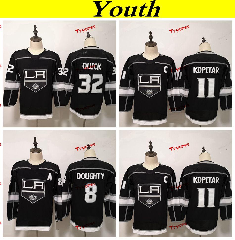 청소년 Los Angeles Kings 2019 8 Drew Doughty 11 Anze Kopitar 32 Jonathan Quick Hockey 유니폼 보이즈 소녀 키즈 스티치 셔츠