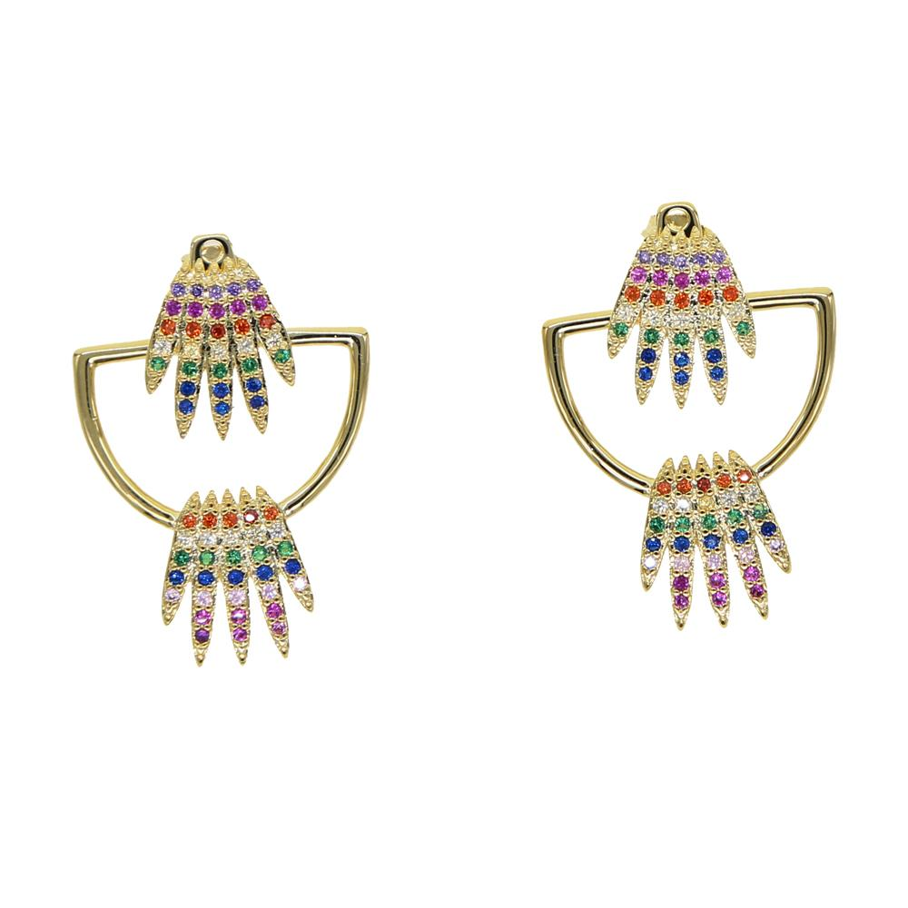 Wholesale-rainbow cz crown stud earring for women Gold colorful cz double side front back fashion trendy jacket earrings