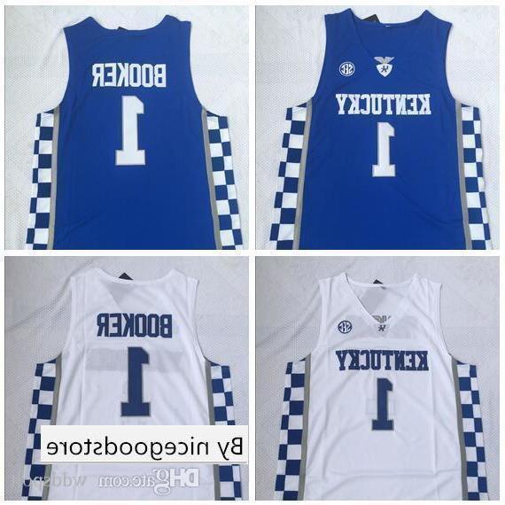 NCAA Kentucky No. 1 Booker bianco e blu ricamato Jersey di pallacanestro