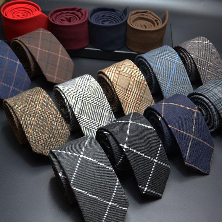 Mens Ties 6cm Classic Cotton Handmade Skinny Neck Ties Men Striped Narrow Collar Slim Cashmere Tie Casual Plaid Tie