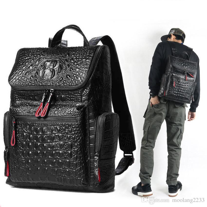 جودة عالية جلد التمساح طباعة حقيبة الرجال حقيبة المصممين الشهيرة قماش الرجال حقيبة سفر حقيبة الظهر حقيبة كمبيوتر محمول