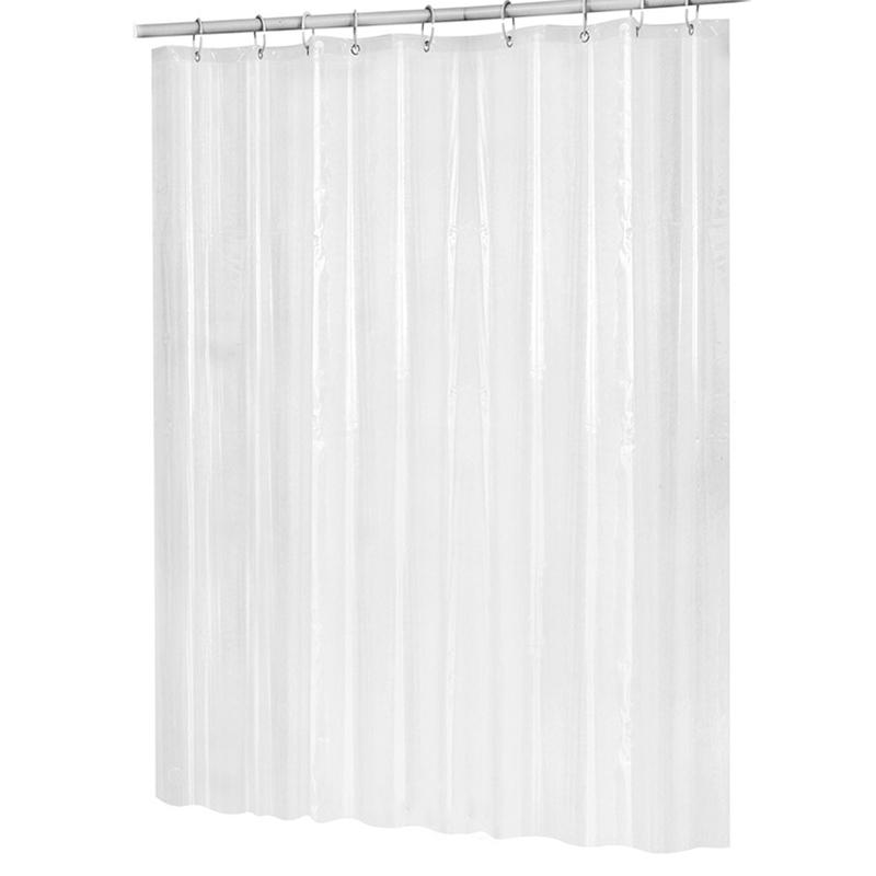 HOT-180Cmx180Cm Plastic Peva Waterproof Shower Curtain Transparent White Clear Bathroom Curtain Luxury Bath With Hooks