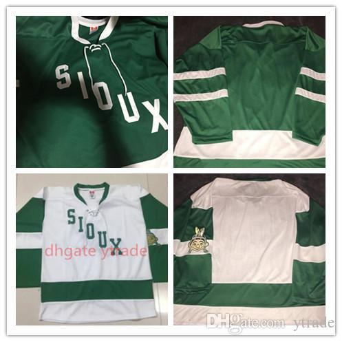 Mens 1959 do vintage do Norte Dakota Combate Sioux Jerseys Sioux Hockey Jersey Verde Branco Vintage costume vazio algum nome bordado costurado