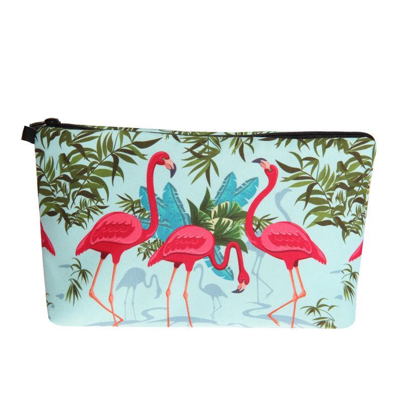 3D печать фламинго косметичка мода женщины макияж сумки портативный водонепроницаемый косметика Pouchs для путешествий