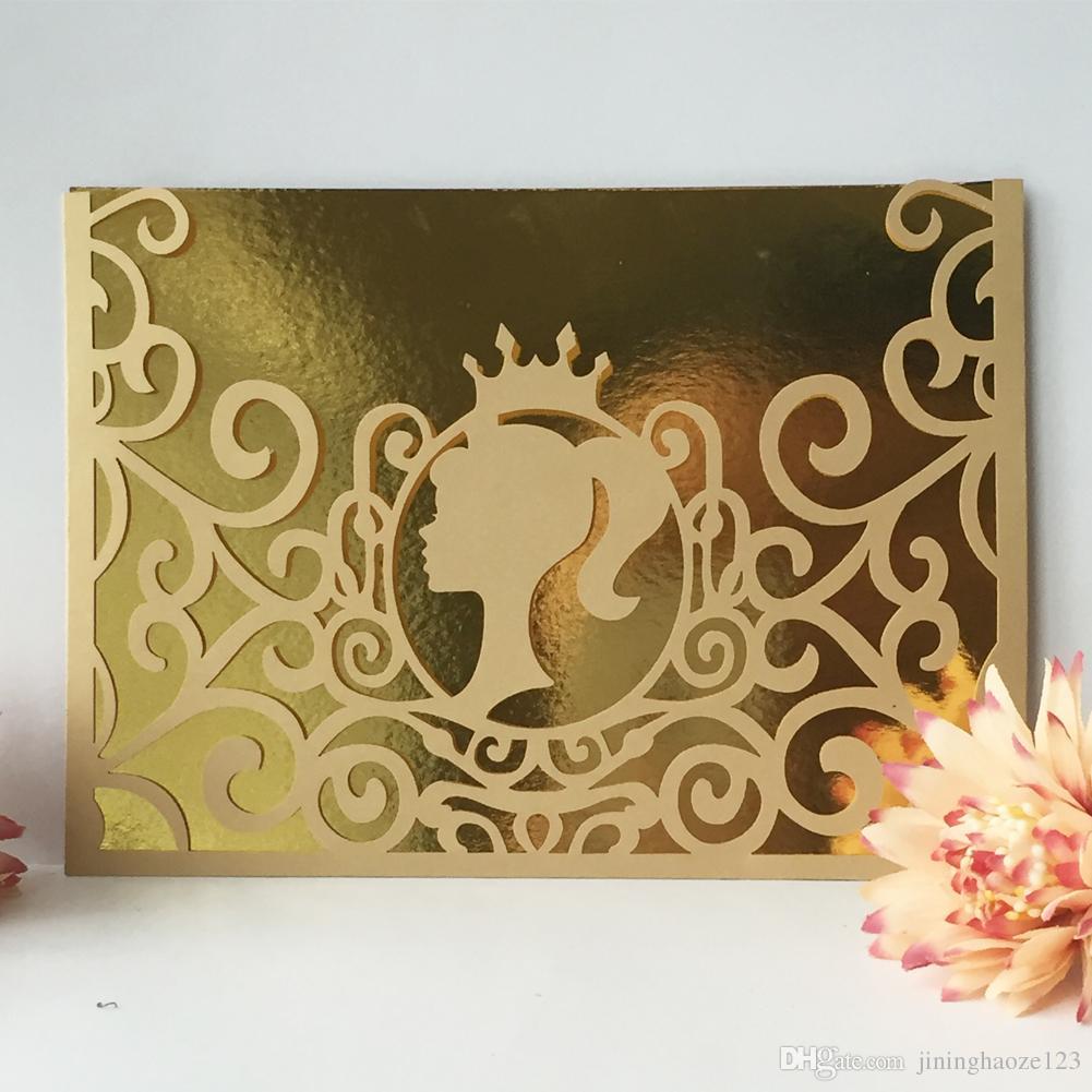 La muchacha hermosa del oro marco de fotos hueco corte por láser papel de perla envuelve la cena de cumpleaños fiesta de la boda invitaion Envío Gratis