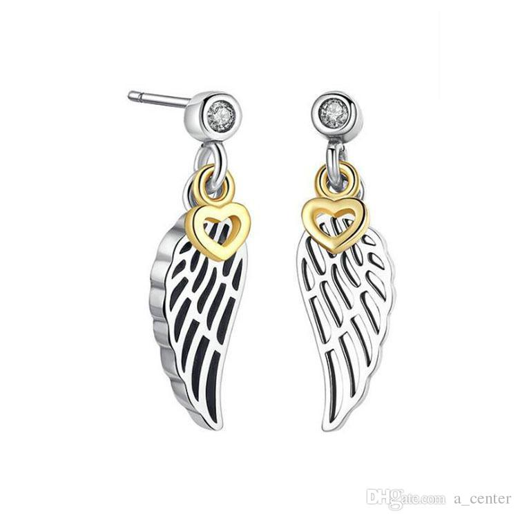 NEW Authentic 925 Sterling Silver wings Pendant Earrings set Original box for Pandora CZ Diamond feather Stud Earring for Women