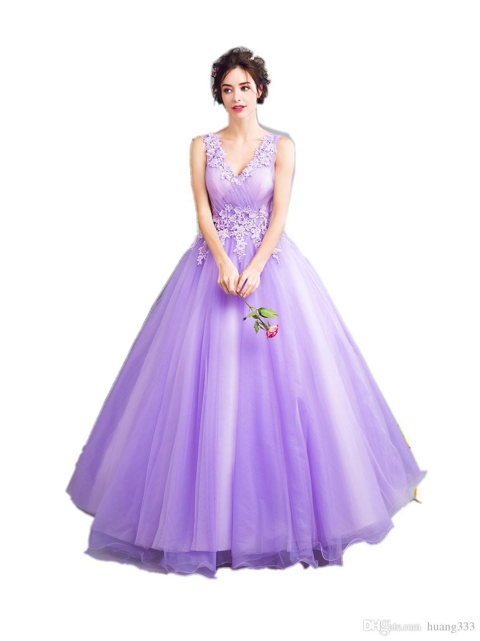 2019 New Dream Fairies Lavanda Roxo Vestidos de Noite A Noiva Princesa Banquete Doce Rendas Apliques Longos Prom Vestidos de Festa 493