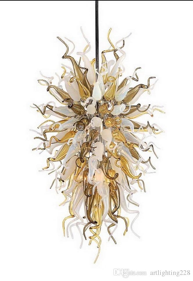 Arte Diseño hecho a mano soplado cadena de cristal colgante de lámparas Salón decorativa moderna de LED de cristal colgante de la lámpara de cristal