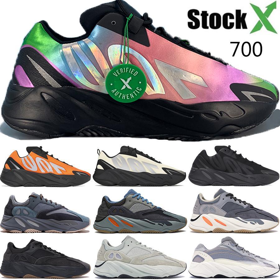 2020 новый Tie краситель оранжевый Teal Углеродные синий 700 отражающий магнит Тройной черный Канье Уэст мужские кроссовки женские кроссовки инструкторов