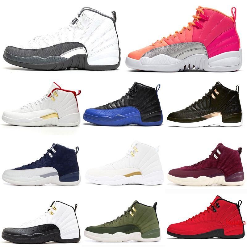 HOTSALE koyu gri 12s erkekler basketbol ayakkabıları 12 Ters Taksi Oyunu Kraliyet kanatları SICAK PUNCH erkek eğitmen Spor Spor ayakkabılar 7-13