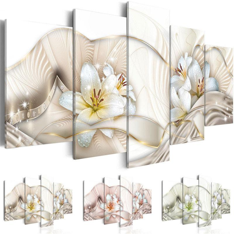 5 Pieces Lily Canvas Painting Bedroom Home Decor Spray Painting Unframed Wall Art Flower Picture Print on Canvas