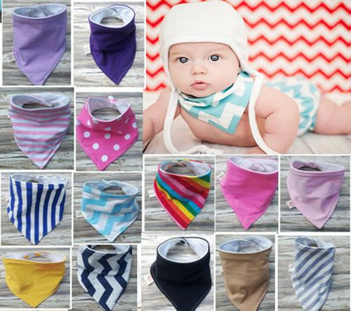 38 Color 2 Layer baby bibs handmade baby waterproof triangular bandage cotton double triangular bandage Buckle baby drool towel bibs C1749