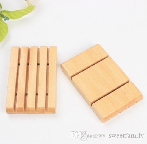 Natural Bamboo Soap Holder Dish Bathroom Shower Plate Stand Storage Wood Tray JH