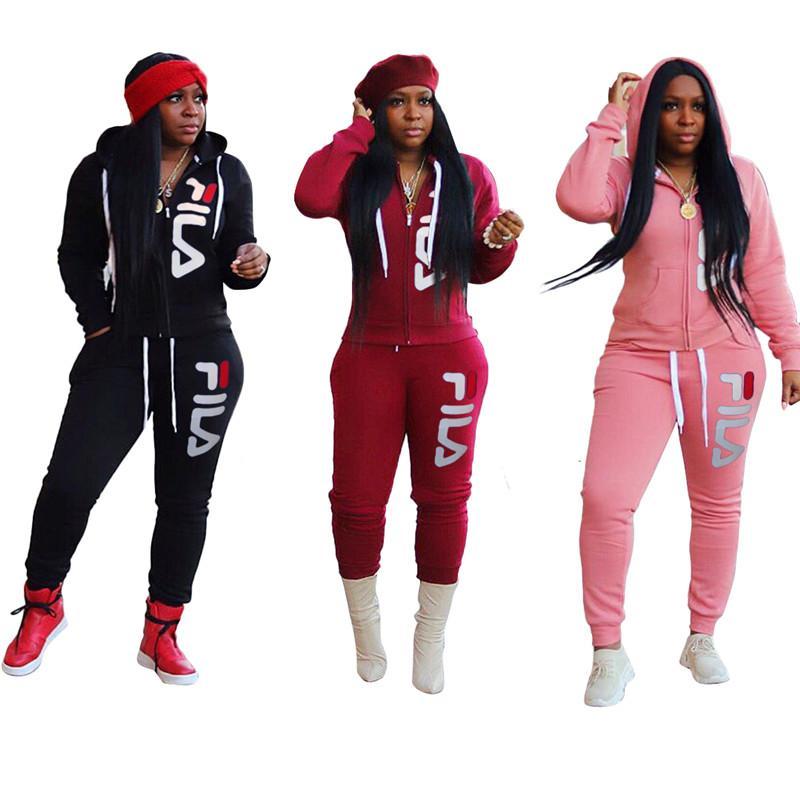 Les femmes marque veste à capuche + pantalon de set plus la taille d'hiver tenues de jogging épais costume lettre casual sportswear sweatsuit survêtement chaud 2341