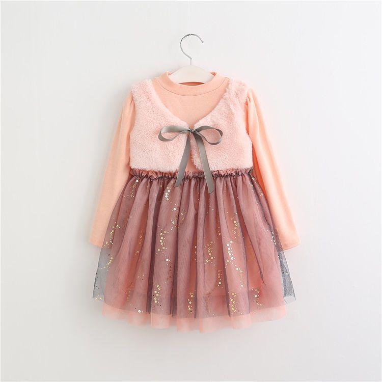 Coreano Patchwork Fleece bambini vestito dal bambino e gilet 2 parti ha regolato vestiti bambini di inverno Abiti Mesh Dress Little Girls