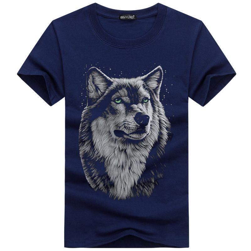 Verano de los hombres de encargo diseño del perro / búho / Wolf / gato hombres de la camiseta de la acuarela animal gráficos impresos Tops inconformista Tee Shirts Traducido por 5XL