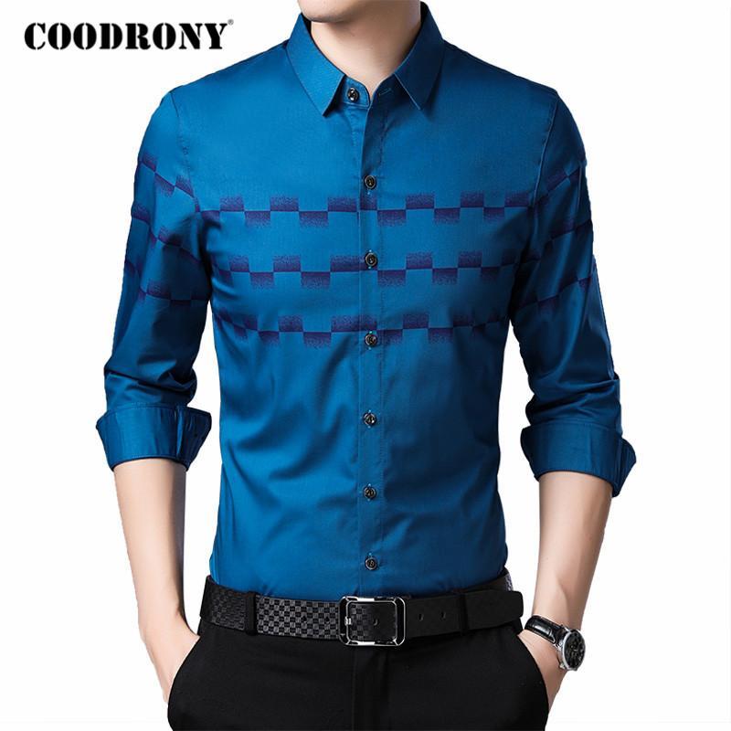 COODRONY Marka Moda Uzun Kollu Gömlek Erkekler 2020 İlkbahar Sonbahar Yeni Geliş İş Casual Gömlek Erkek Yumuşak Chemise Homme C6041