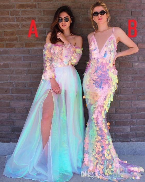 Vestidos de fiesta de sirena sexy 2019 Vestido de noche con lentejuelas de colores Vestidos de fiesta de tren de barrido Brillante Bling Bling Brillantes batas de soirée A59