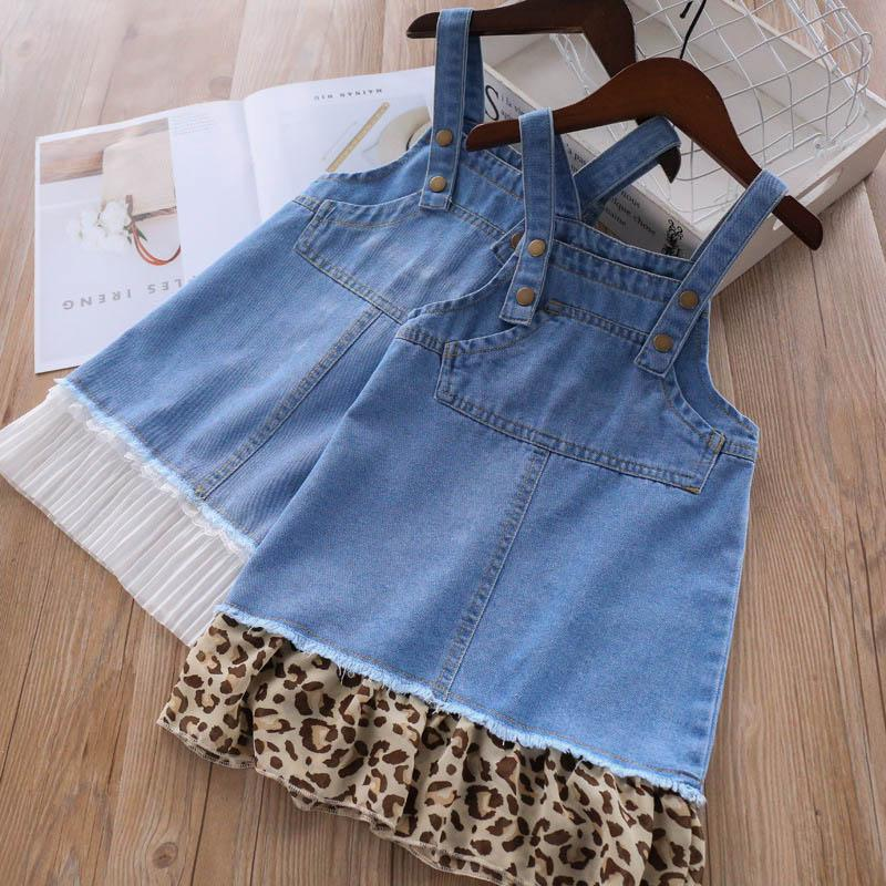 ragazze della stampa leopardo si veste 2019 nuova Primavera Estate denim delle ragazze abito di pizzo ragazze si vestono jeans bretella pannello esterno dei capretti Stilisti A3934