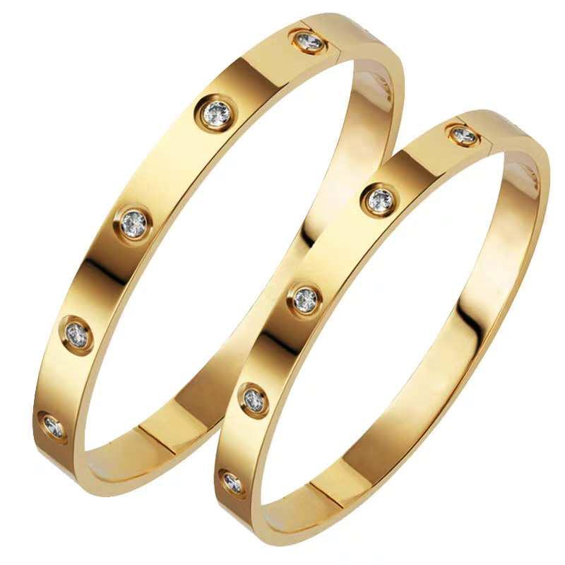 الفخامة الكلاسيكية مصمم المجوهرات النسائية الأساور 18k الذهب 316L الفولاذ المقاوم للصدأ سوار مسمار المسمار سوار الحب مع حقيبة الأصلي