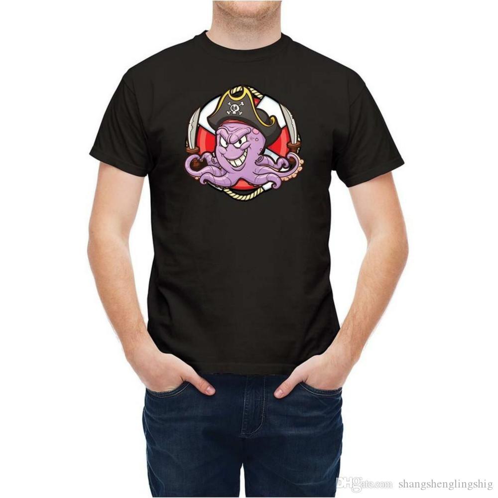 Ahtapot ile Cankurtaran Karikatür Tişörtlü Erkek Unisex Yeni Moda Tee
